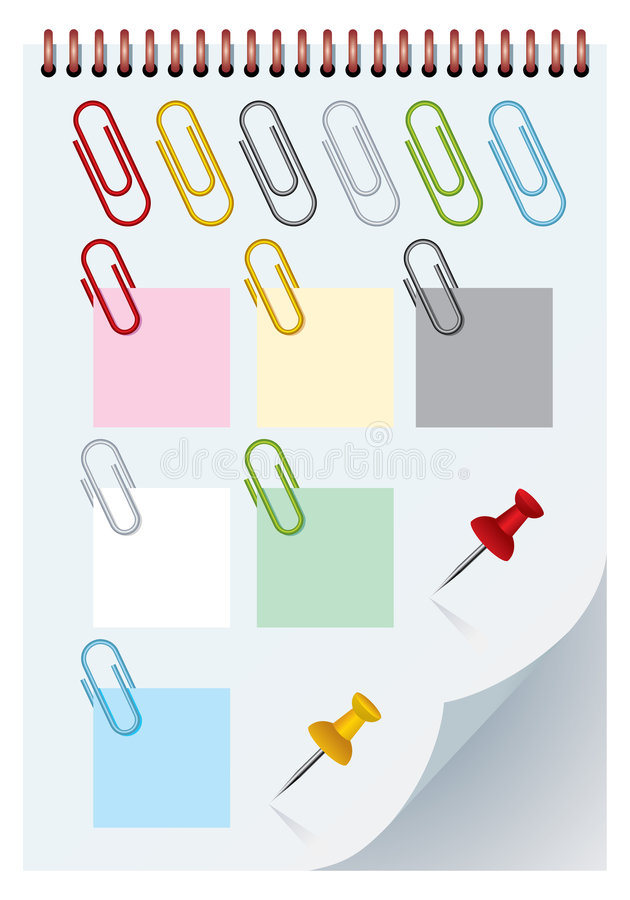 Clips et thumbtacks d'isolement illustration libre de droits