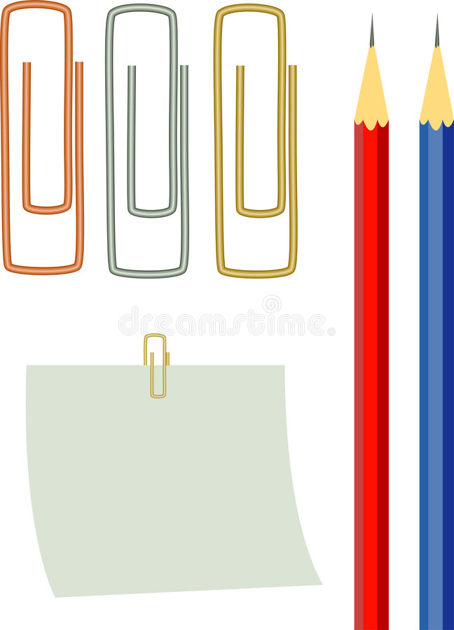 Clips, paper, pencils stock images