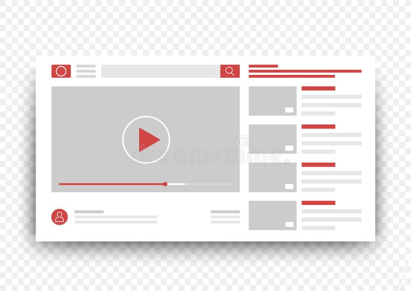 Clips vidéo de vue dans la fenêtre du navigateur Calibre visuel en ligne de vecteur illustration stock