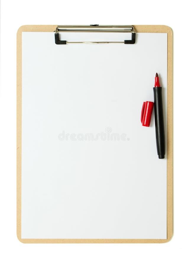 Cliqboard с красной ручкой стоковые фото