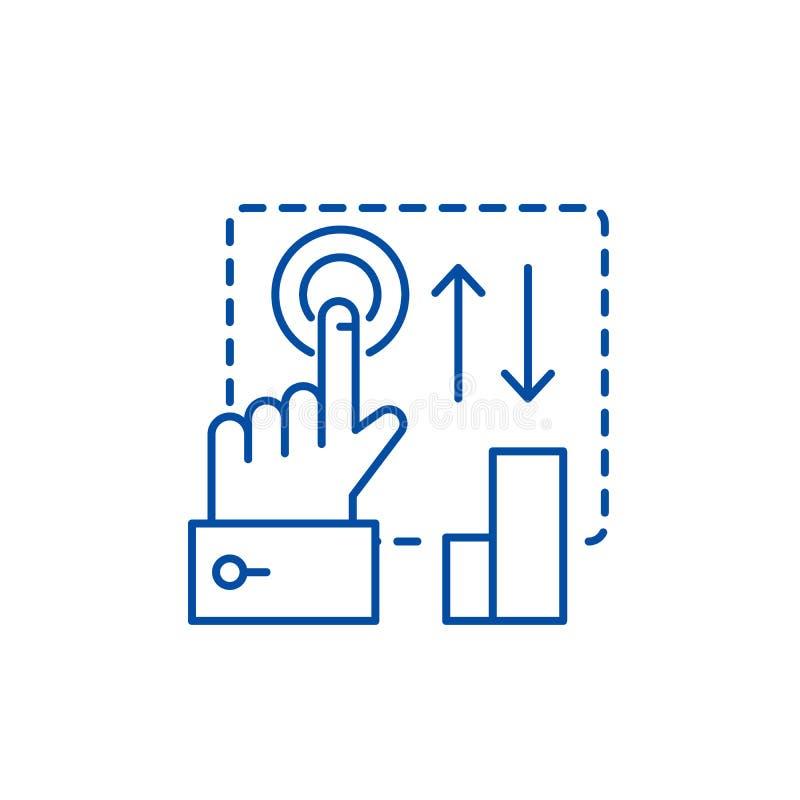 Clique aqui a linha conceito do ícone Clique aqui o símbolo liso do vetor, sinal, ilustração do esboço ilustração stock