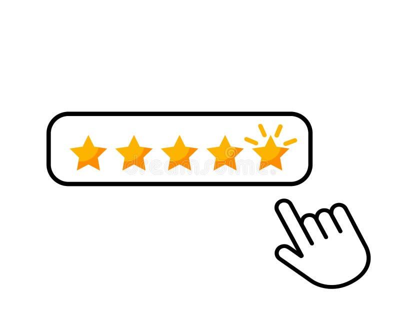 Clique aqui o ícone liso da revisão do produto da avaliação do consumidor das estrelas do botão cinco do ícone da mão para aplica ilustração royalty free