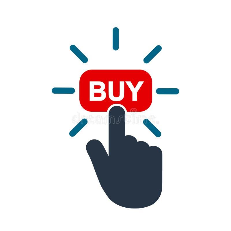 Clique aqui o botão com clique do ponteiro da mão Estale aqui a tecla do Web Ícone isolado da compra do Web site com o cursor de  ilustração do vetor