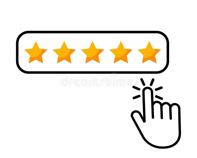 Clique aqui o ?cone liso da revis?o do produto da avalia??o do consumidor das estrelas do bot?o cinco do ?cone da m?o para aplica ilustração royalty free
