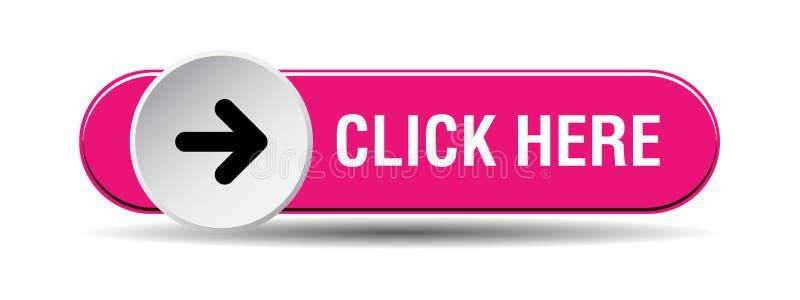 Clique aqui o rosa de botão ilustração royalty free