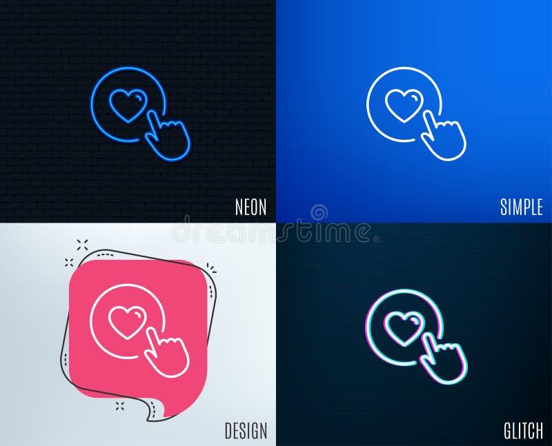 Clique como a linha ícone Símbolo do amor ilustração royalty free