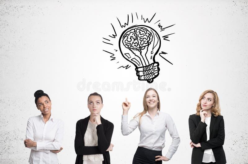 Clique de quatro mulheres Muro de cimento Conceito da idéia, ilustração do vetor fotos de stock