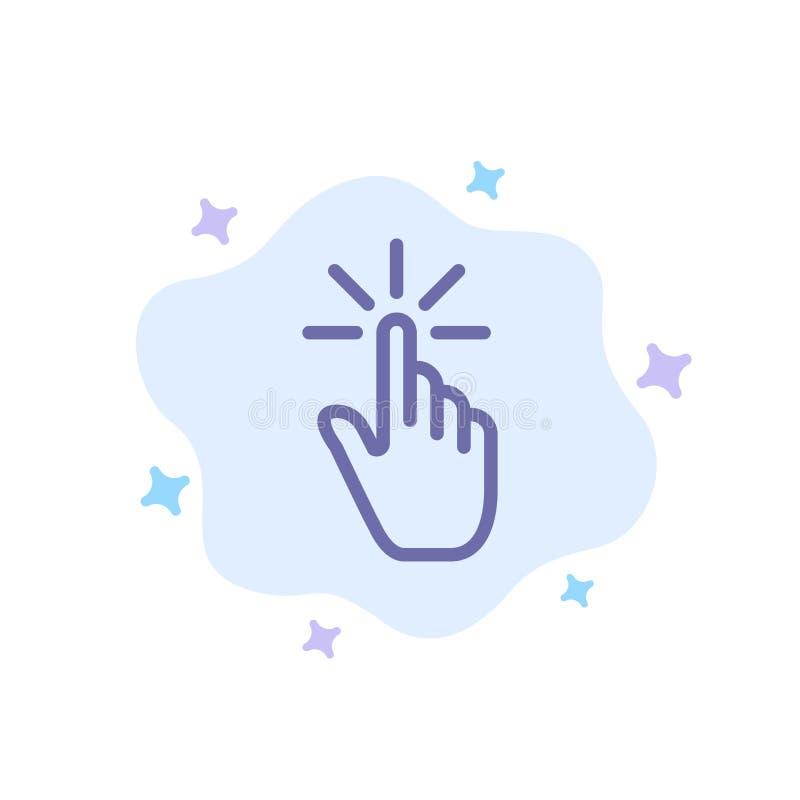 Clique, dedo, gesto, gestos, mão, ícone azul da torneira no fundo abstrato da nuvem ilustração royalty free