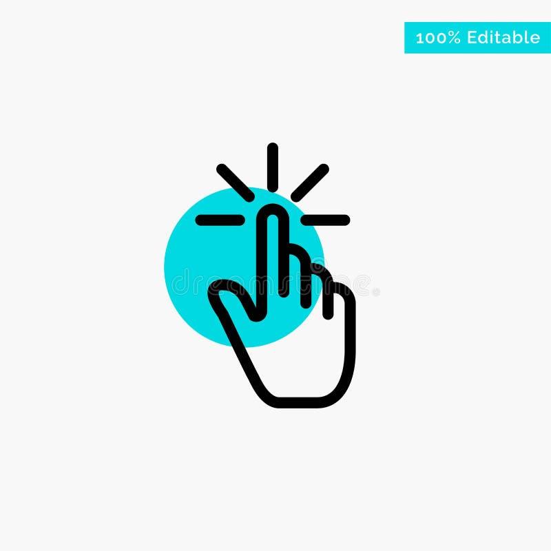 Clique, dedo, gesto, gestos, mão, ícone do vetor do ponto do círculo do destaque de turquesa da torneira ilustração stock
