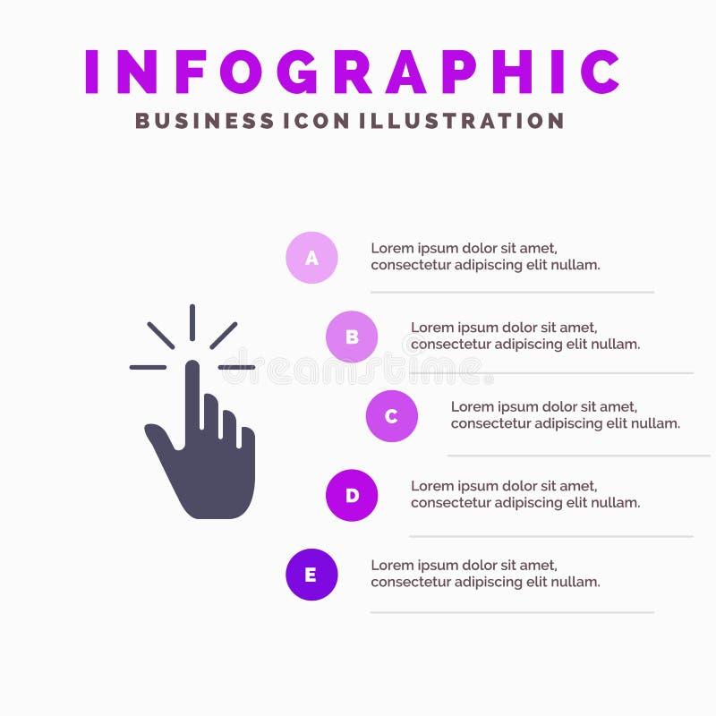 Clique, dedo, gesto, gestos, mão, fundo contínuo da apresentação das etapas de Infographics 5 do ícone da torneira ilustração stock
