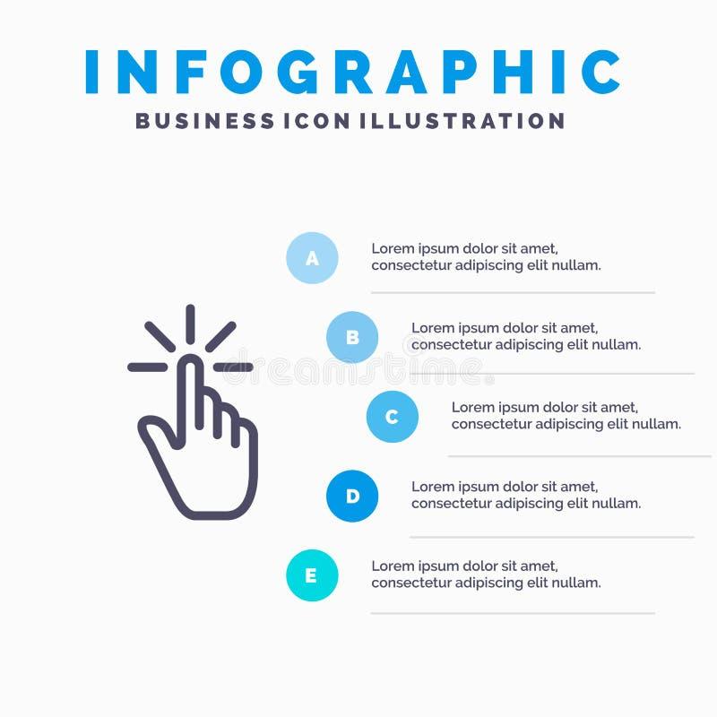 Clique, dedo, gesto, gestos, mão, linha ícone da torneira com fundo do infographics da apresentação de 5 etapas ilustração royalty free