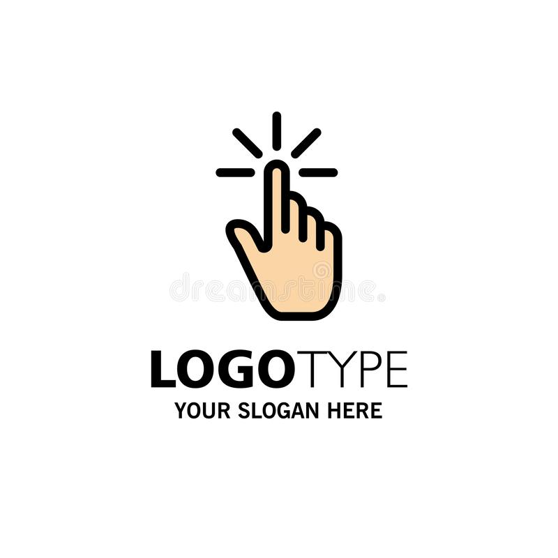Clique, dedo, gesto, gestos, mão, negócio Logo Template da torneira cor lisa ilustração stock