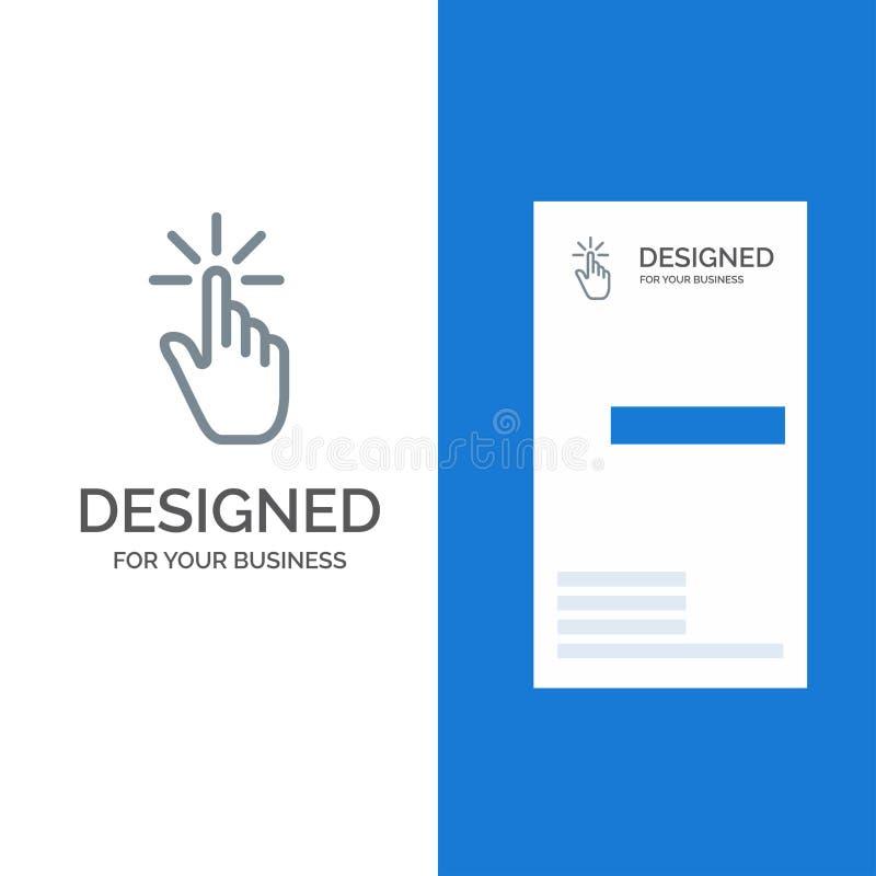 Clique, dedo, gesto, gestos, mão, torneira Grey Logo Design e molde do cartão ilustração do vetor