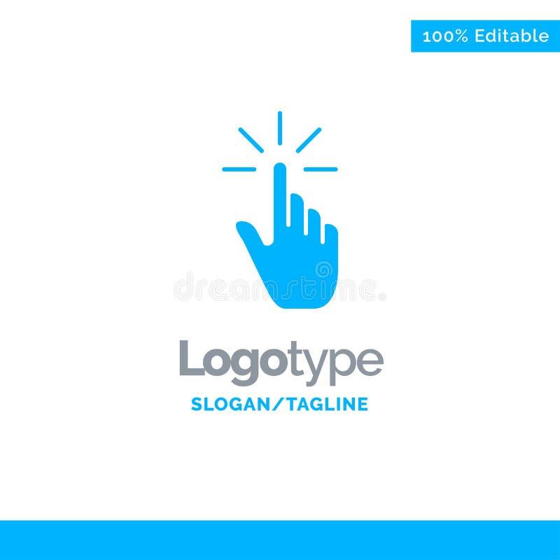 Clique, dedo, gesto, gestos, mão, torneira Logo Template contínuo azul Lugar para o Tagline ilustração stock