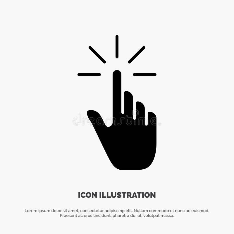 Clique, dedo, gesto, gestos, mão, vetor contínuo do ícone do Glyph da torneira ilustração stock