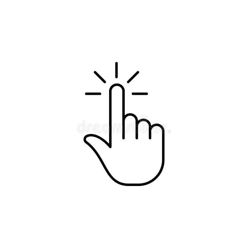 Clique, dedo, gesto, mão, um ícone do esboço Elemento do ícone simples para Web site, app móvel, gráficos da informação Sinais e  ilustração stock