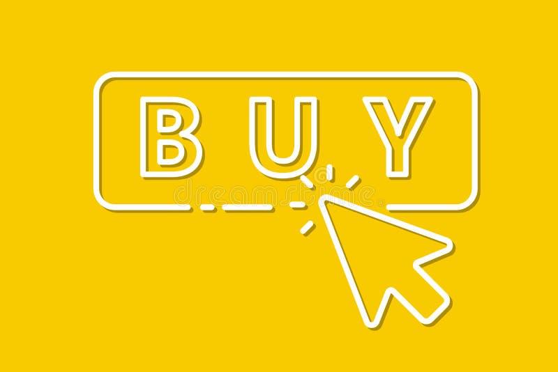 Clique do rato do ícone no botão da compra Vetor ilustração stock