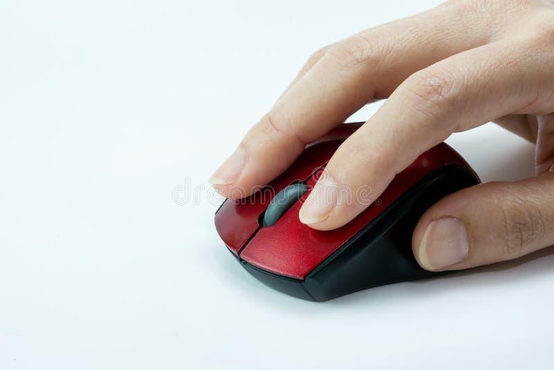 Clique do rato da mão fotografia de stock
