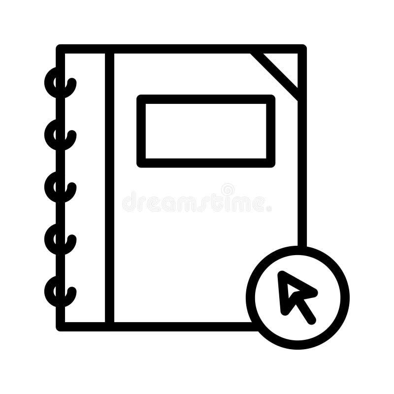 Clique a linha fina ícone do caderno do vetor ilustração do vetor