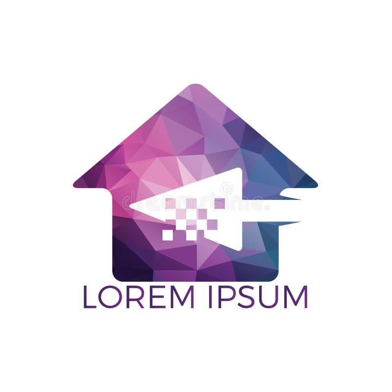 Clique Logo Design da casa Projeto do logotipo da seta e do cora??o do pixel ilustração do vetor