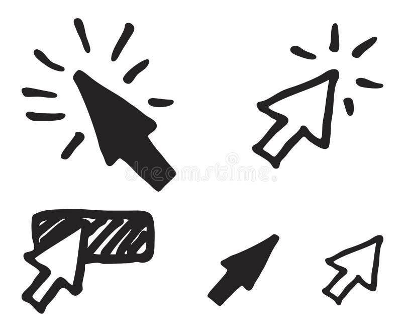 Clique o ícone no estilo do esboço ilustração royalty free