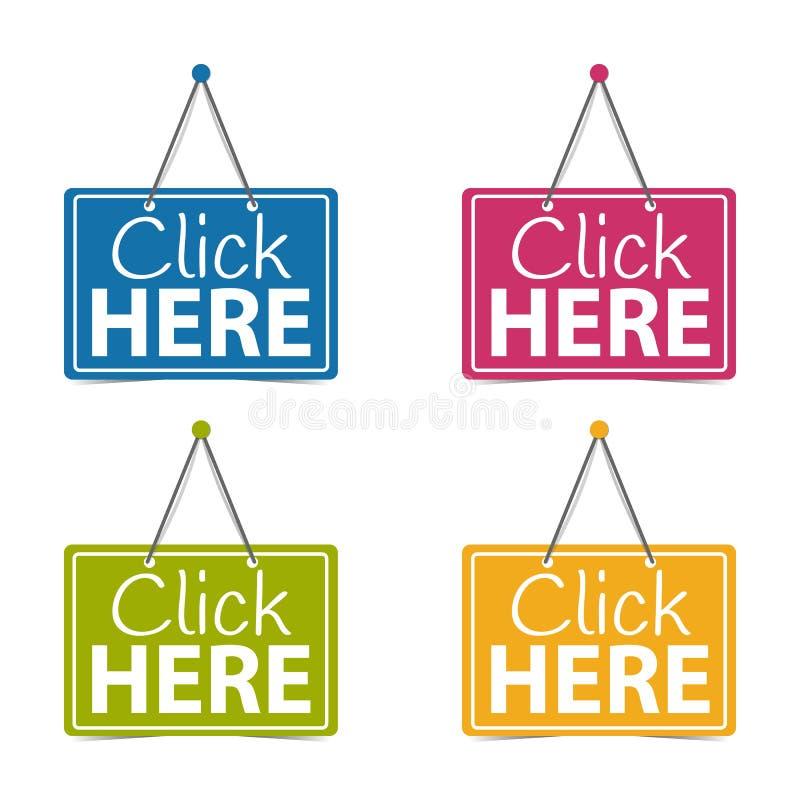 Clique os sinais aqui de suspensão do negócio - ilustração do vetor - isolados no fundo branco ilustração stock
