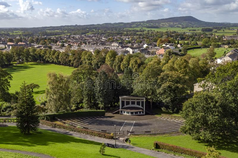 Clitheroe - Lancashire - United Kingdom. The town of Clitheroe in the county of Lancashire in the United Kingdom. Viewed from the battlements of Clitheroe Castle royalty free stock image