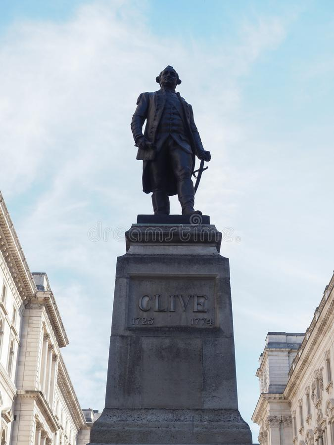 Clive of India statue in London. Statue of 1st Baron Robert Clive (aka Clive of India) commander in chief of British India in London, UK royalty free stock images