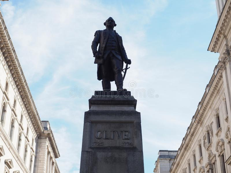 Clive of India statue in London. Statue of 1st Baron Robert Clive (aka Clive of India) commander in chief of British India in London, UK stock images