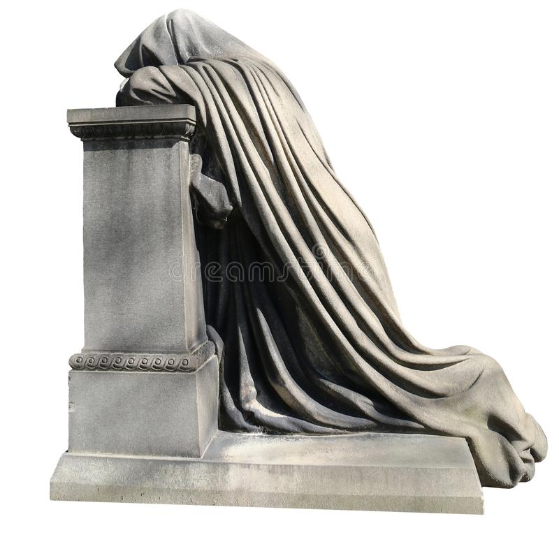 Cloaked Figure 4. A cloaked figure isolated on a white background, with a headstone royalty free stock photos
