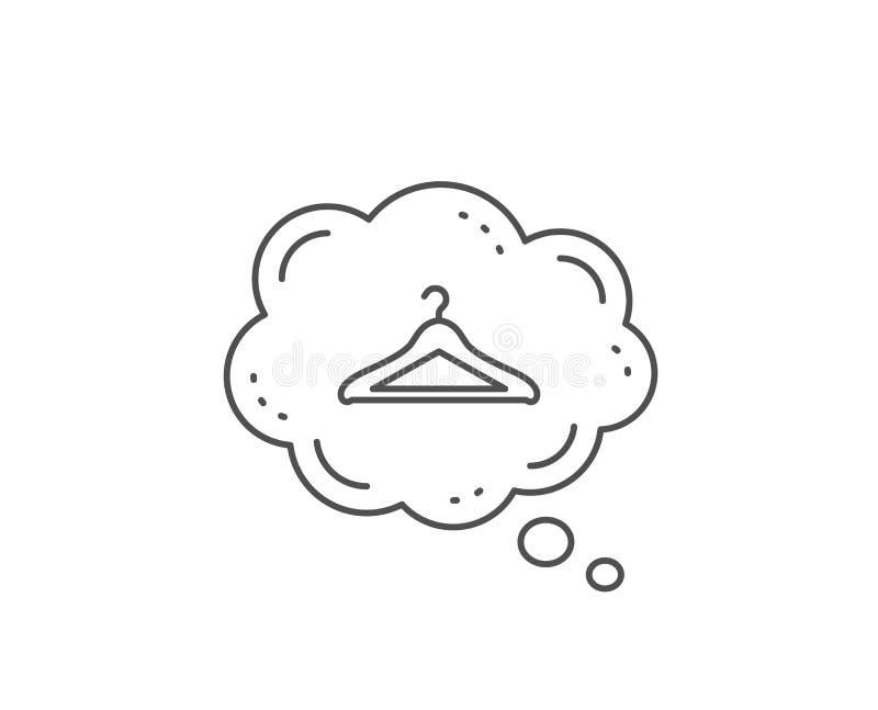 Cloakroom kreskowa ikona Wieszak garderoby znak wektor royalty ilustracja
