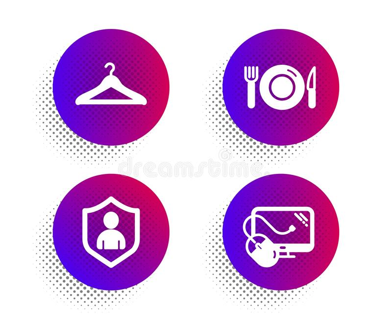 Cloakroom, Security and Food icons set. Computer mouse sign. Hanger wardrobe, Private protection, Restaurant. Vector royalty free illustration