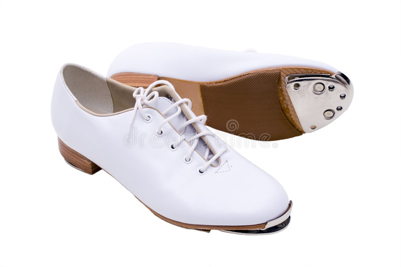 Clobber Shoes. White Leater Shoes for tap dance stock photo