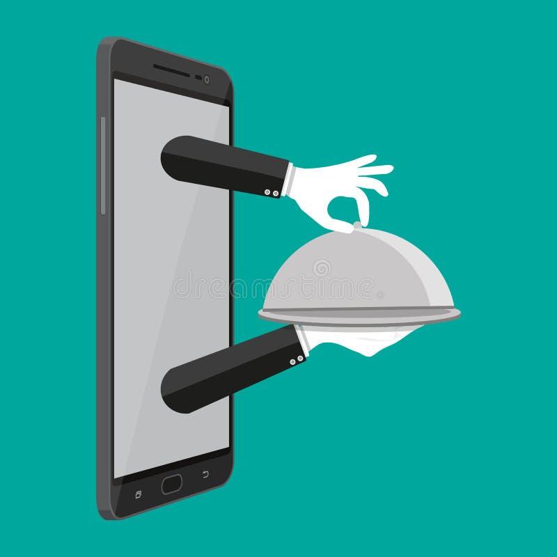 Cloche υπό εξέταση του σερβιτόρου και του κινητού τηλεφώνου ελεύθερη απεικόνιση δικαιώματος