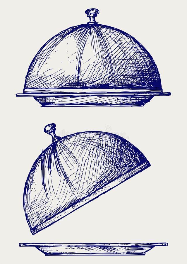 Cloche con il coperchio aperto illustrazione vettoriale