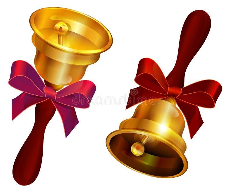 Cloche d'or avec la proue rouge Dernier appel de vacances à l'école illustration de vecteur