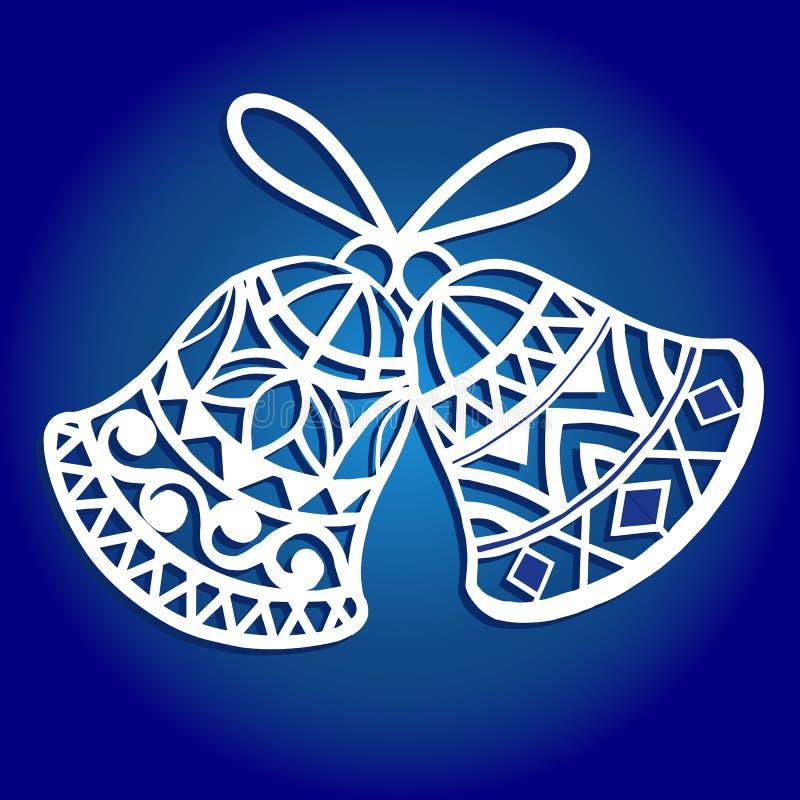 Cloche de Noël de papier de coupe de laser Cloche de Noël pour le découpage du bois, la coupe de papier et les décorations de Noë illustration stock