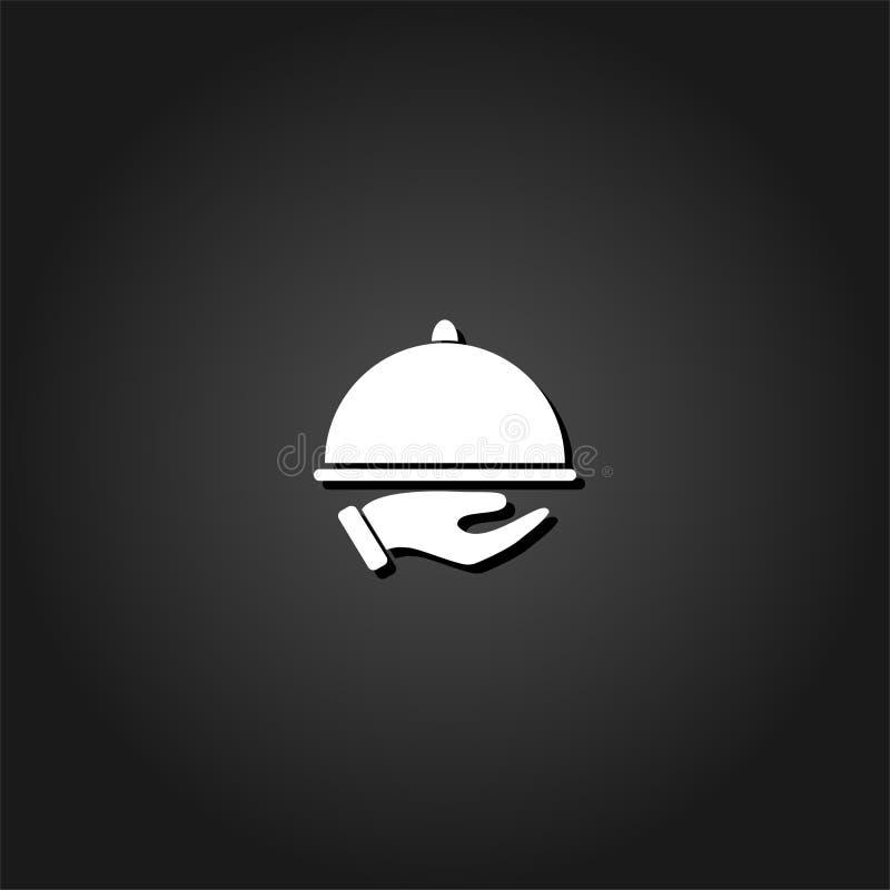 Cloche de restaurant à disposition l'icône de serveur plate illustration de vecteur