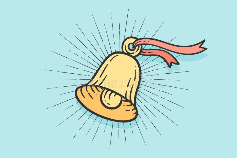 Cloche de signe avec les rayons légers illustration libre de droits