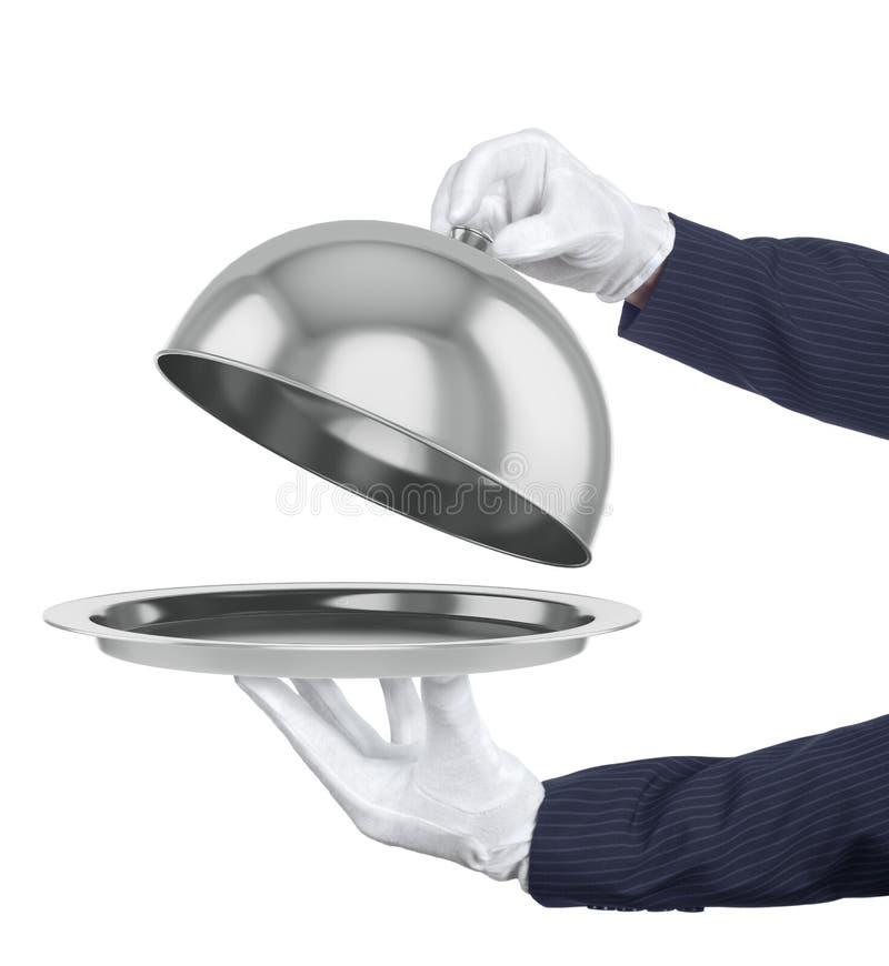 Cloche do restaurante com tampa aberta ilustração royalty free