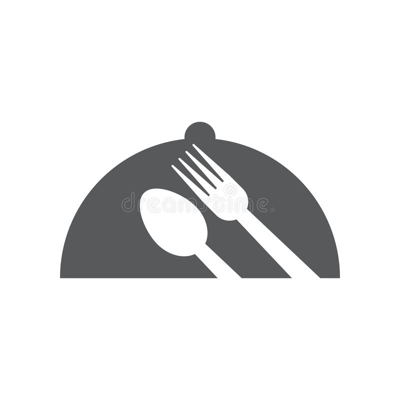 Cloche graphic design template vector isolated. Logo, cafe, waiter, spoon, fork, utensil, food, icon, cafeteria, organic, cartoon, yummy, vintage, company royalty free illustration