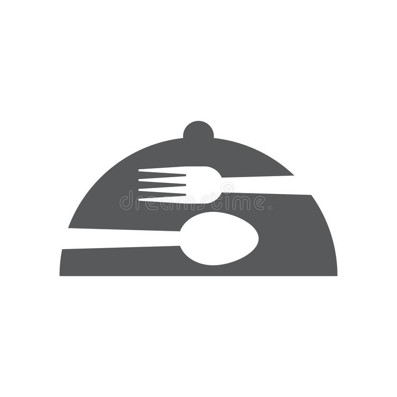 Cloche graphic design template vector isolated. Logo, cafe, waiter, spoon, fork, utensil, food, icon, cafeteria, organic, cartoon, yummy, vintage, company stock illustration