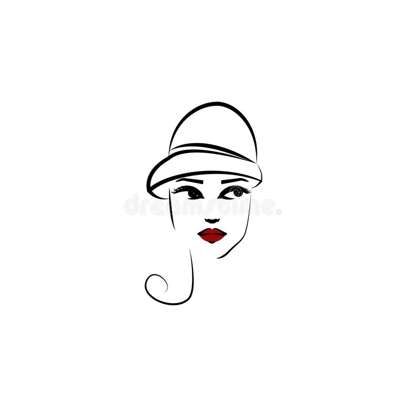 Cloche kapelusz, dziewczyny ikona Element piękna dziewczyna w kapeluszowej ikonie dla mobilnych pojęcia i sieci apps Cienki Lin C ilustracja wektor