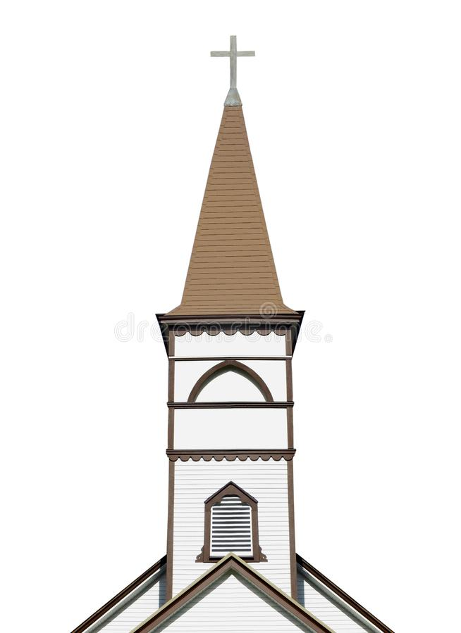 Clocher d'église avec la croix d'isolement photographie stock