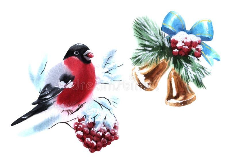 Cloches d'illustration d'aquarelle et objet d'isolement coloré de Rowan Bullfinch sur le fond blanc pour la publicité illustration de vecteur