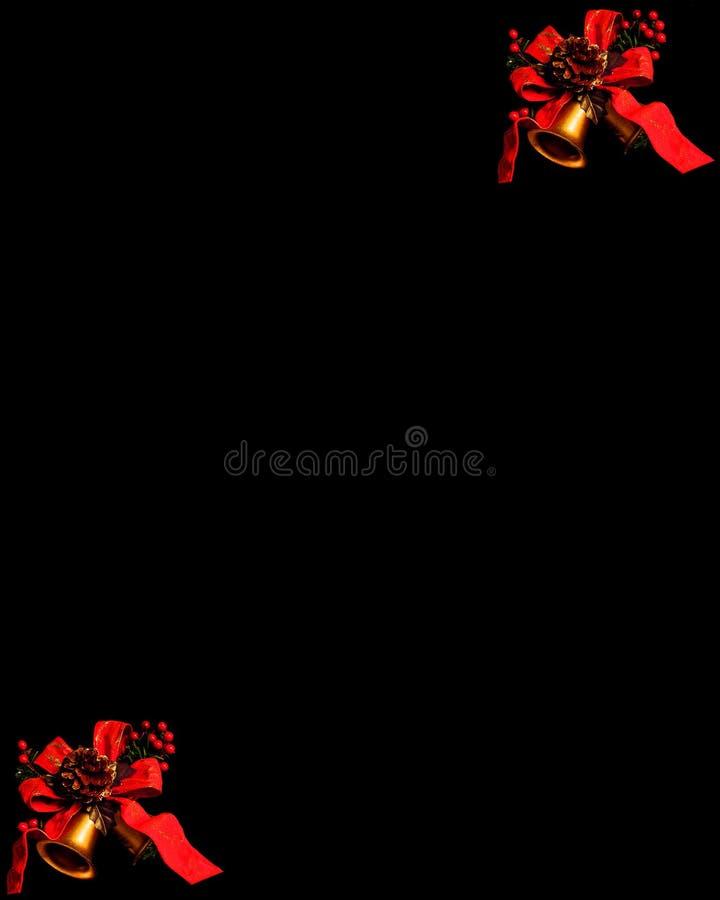 Cloches de Chrismas sur le fond noir image stock