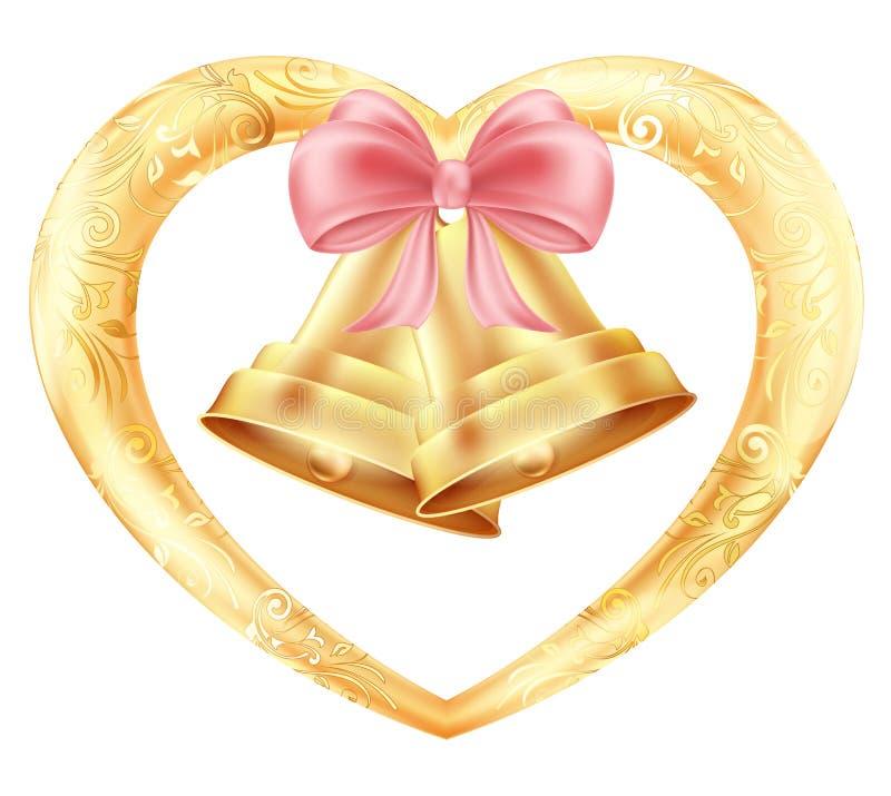 Cloches de mariage avec des coeurs et un arc rose dans un cadre d'or avec un ornement oriental floral Illustration illustration libre de droits