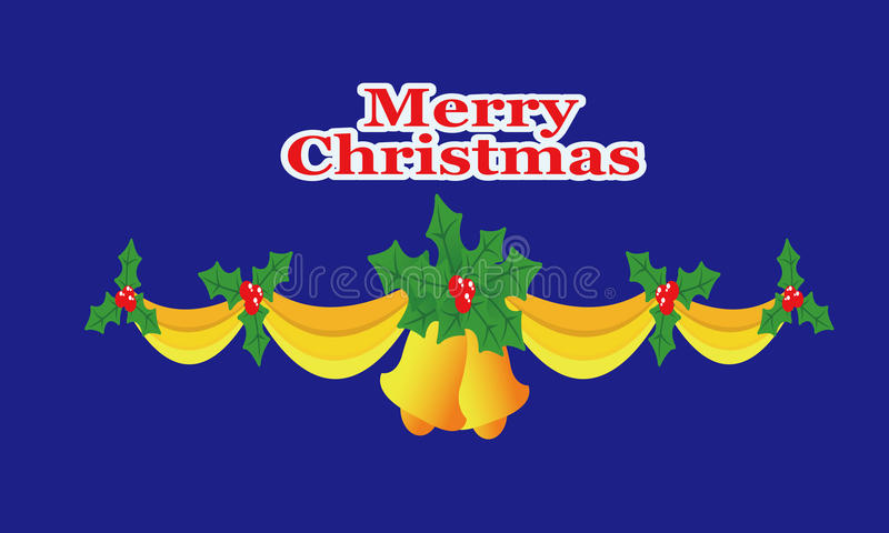Cloches de Noël, rubans, houx image stock