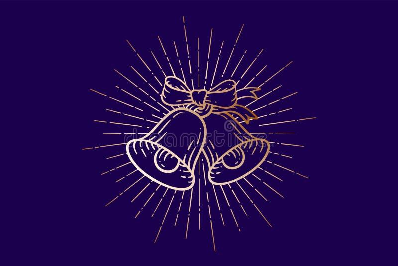Cloches de Noël Tintements du carillon d'or de signe avec les rayons légers illustration libre de droits
