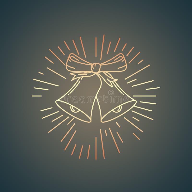 Cloches de Noël - tintements du carillon rougeoyants d'or de signe avec les rayons légers - illustration de vacances illustration libre de droits